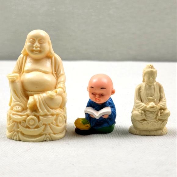 Vintage Asian Statue Figures Set Buddha Small